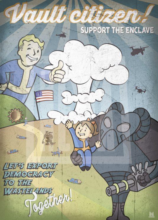 poster-originale-original-fallout4-fallout-enclave-vault-democracy-design-arredo-arredare-heya-quadro-arte-artista-heyastore.com