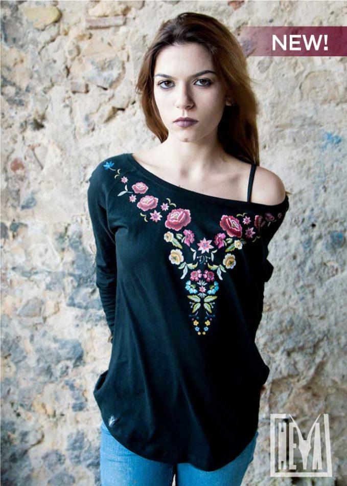 maglietta-donna-tshirt-tee-nera-fiori-boe-flower-sardinia-sardegna-goth-dark-heyastore.com